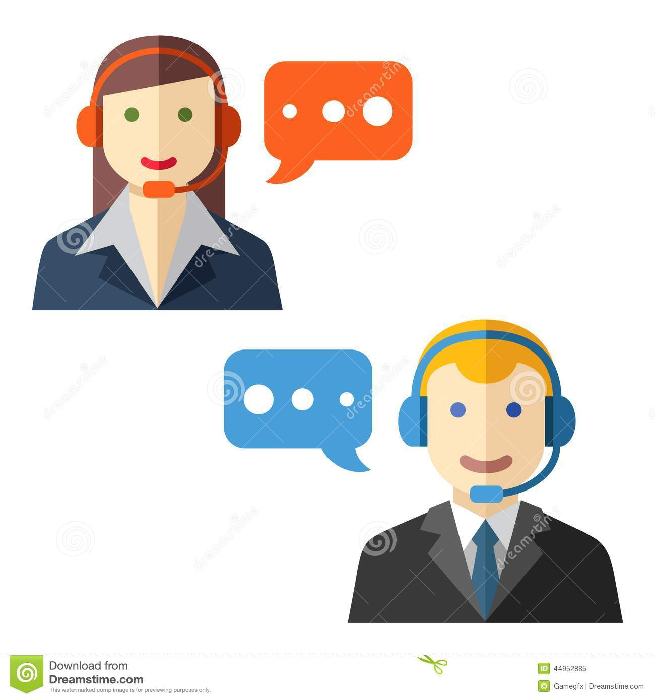 Male And Female Call Center Avatars Stock Vector
