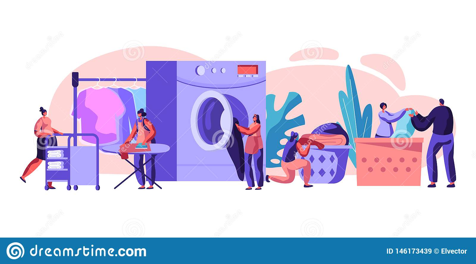 Male and Female Characters Visiting Laundry Loading Dirty Clothes to Washing Machine, Ironing, Rolling Cart with Clean Dresses