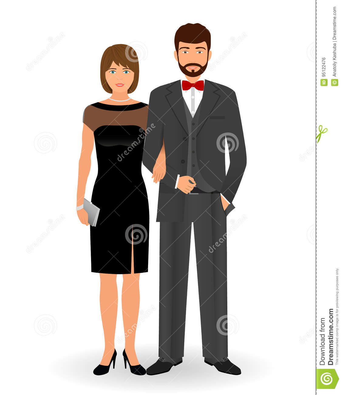 Male And Female Couple In Elegant Clothes For Official Social Events ...