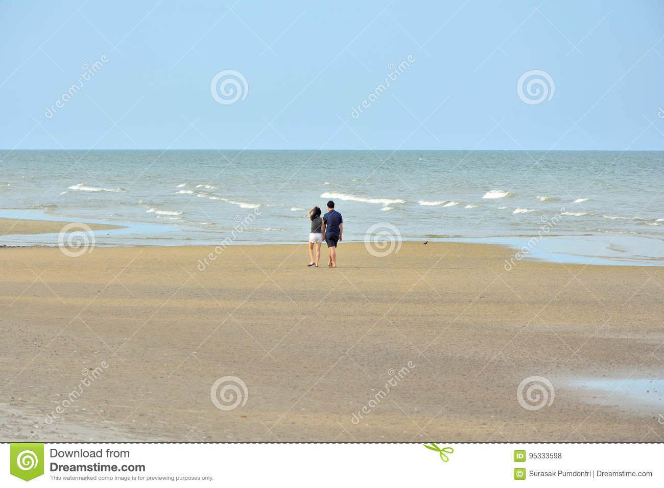 Male and female couples walking on a beach