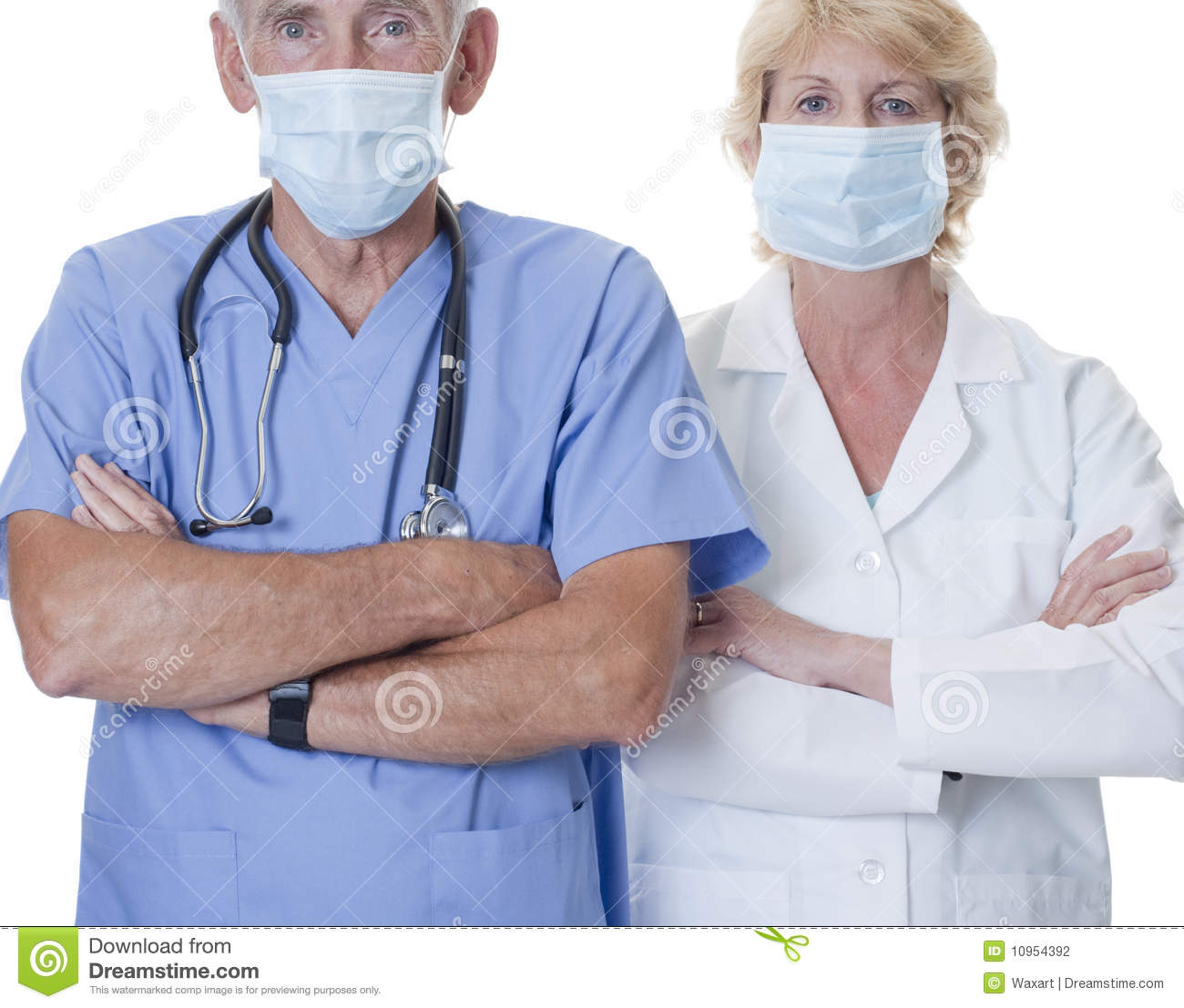 Male and female doctor wearing masks