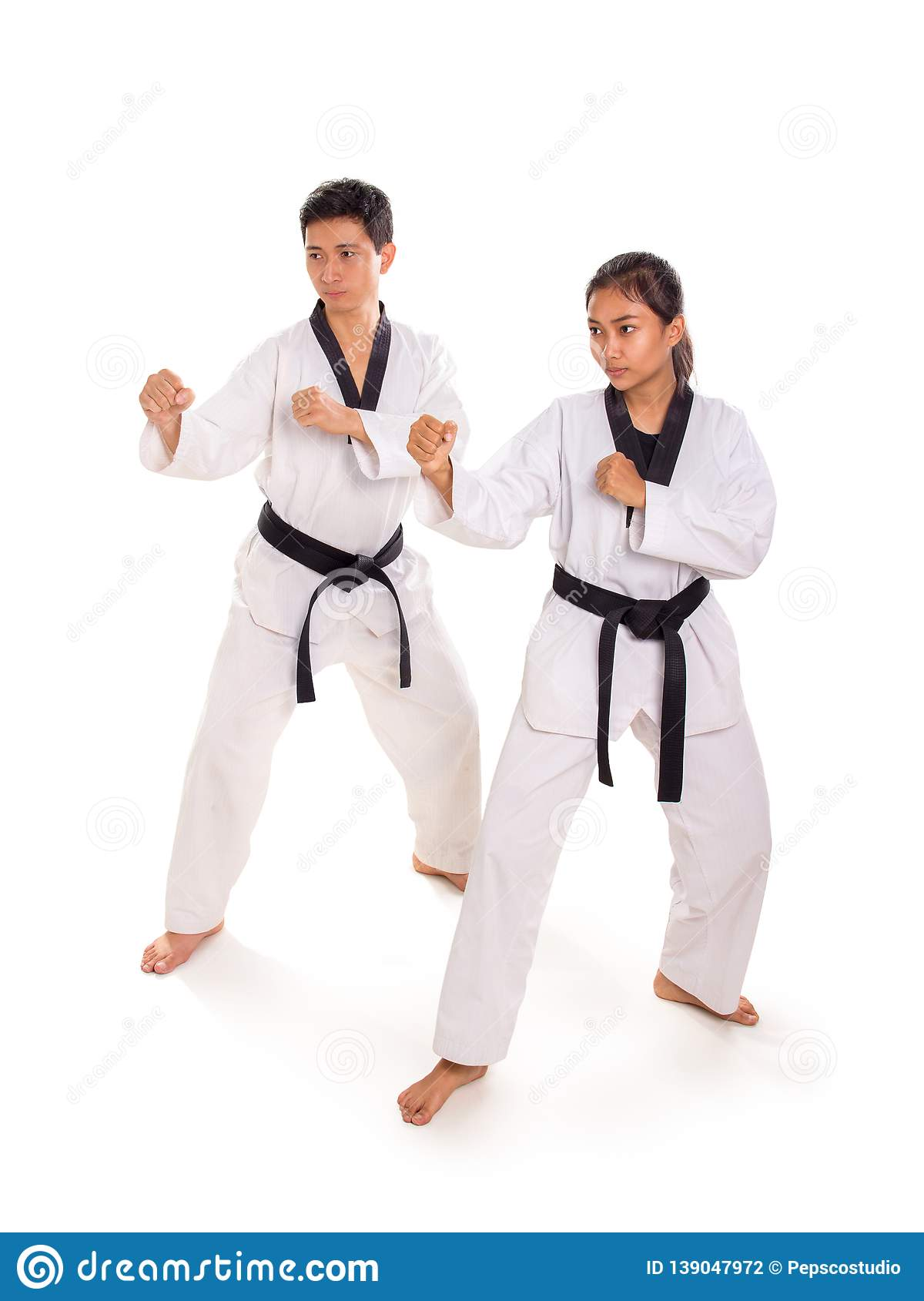 Male And Female Fighters In Action Together Stock Photo Image Of Arts Kimono 139047972