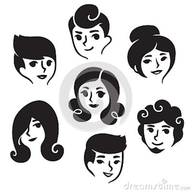 Male And Female Hairstyles Stock Vector Illustration Of Beard
