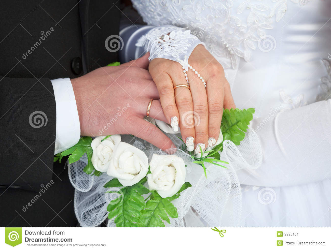 Male And Female Hands With Wedding Rings Stock Image Image Of