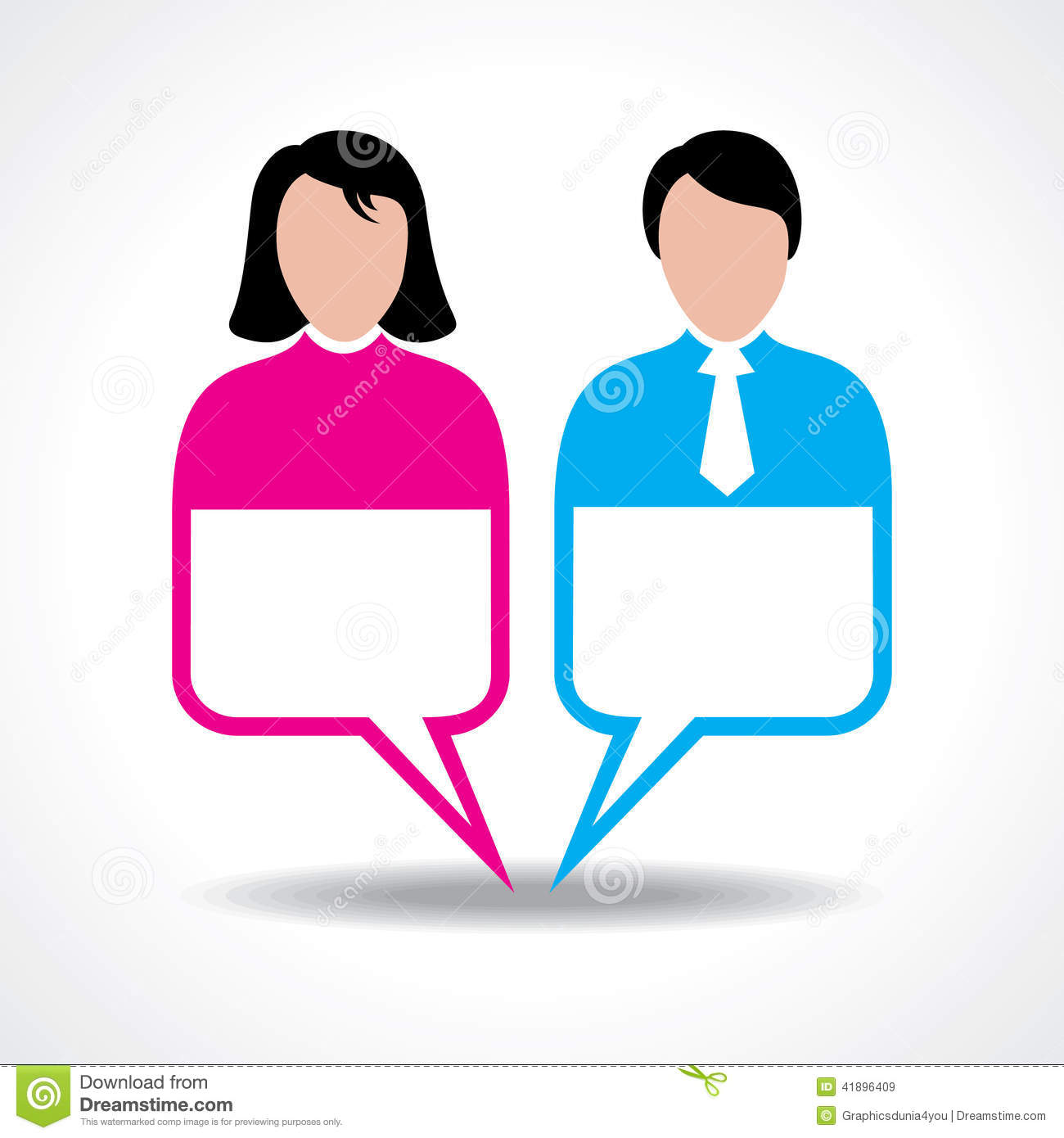 Male and female icon with message bubble