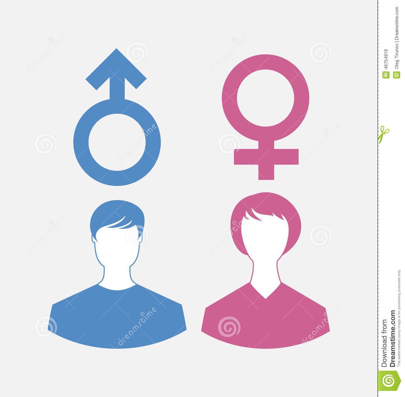 Male And Female Icons Gender Symbols Stock Vector Illustration Of