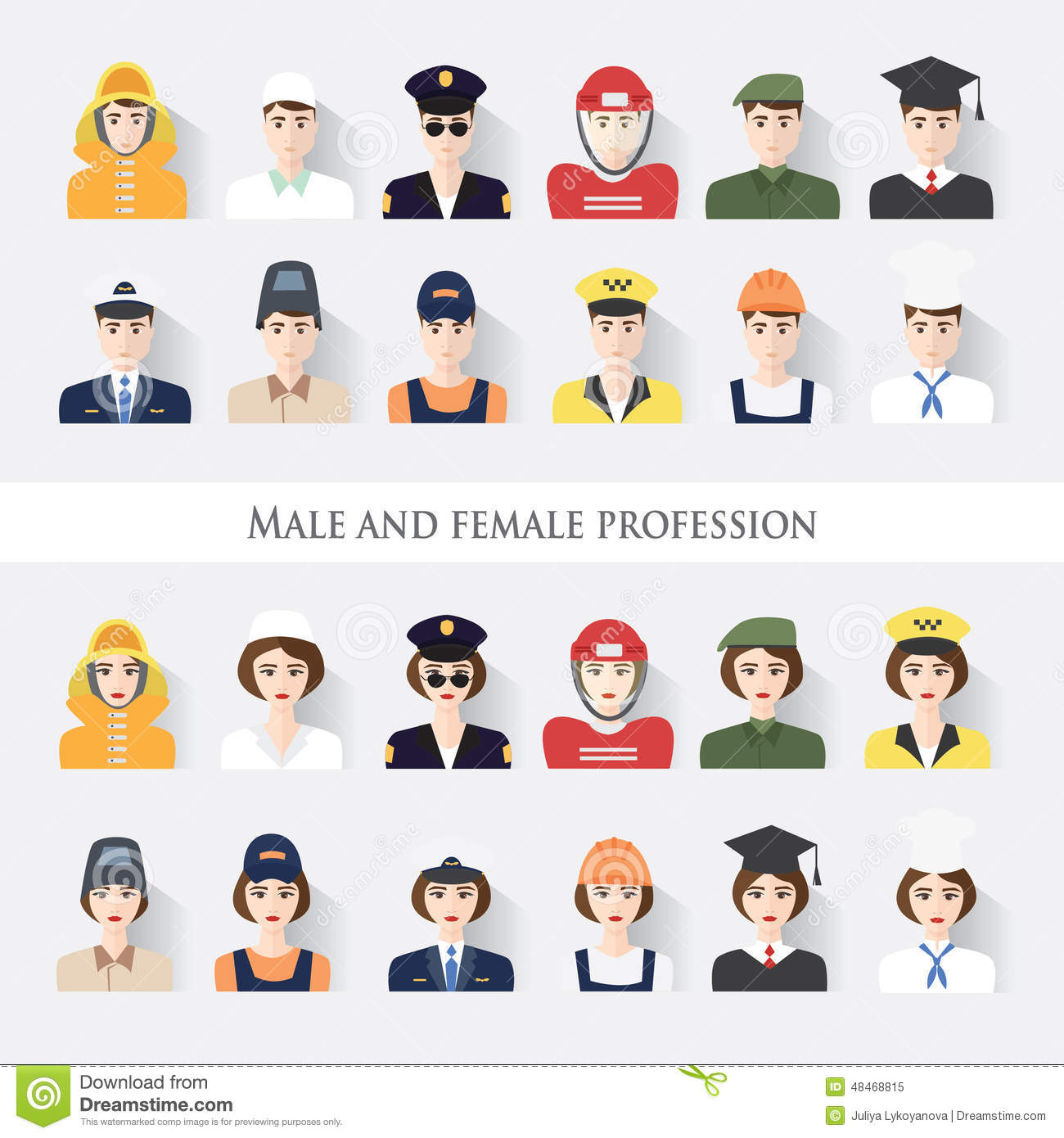 Set Flat Icons with Man of Different Professions.Male and female ...