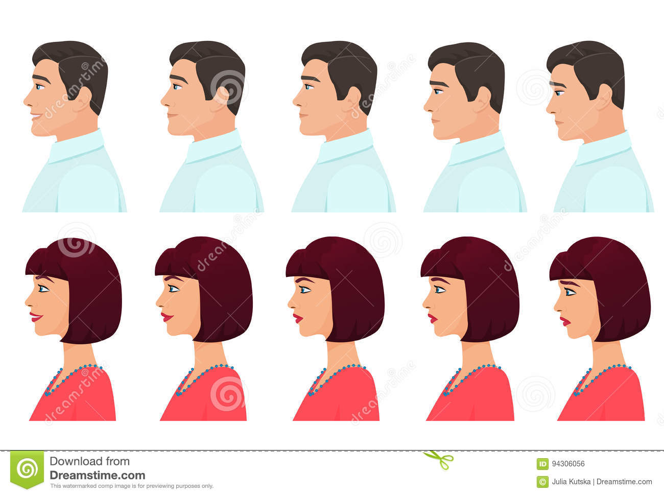 male and female profile avatars expressions set man and woman