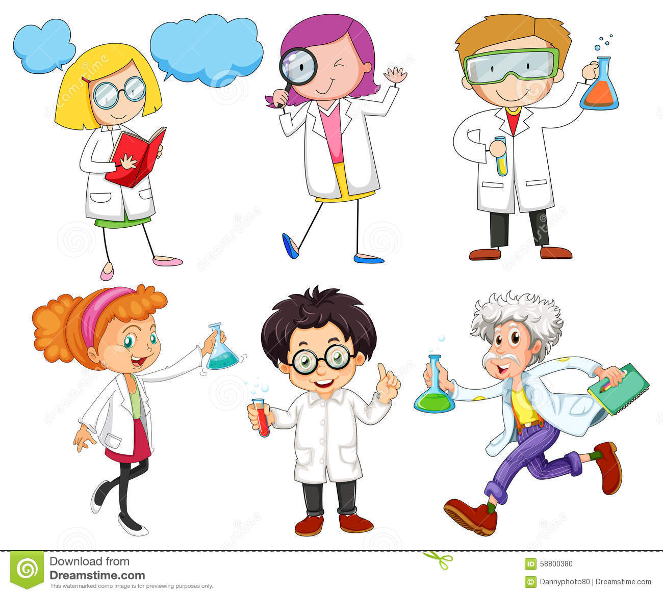 male and female scientists stock illustration