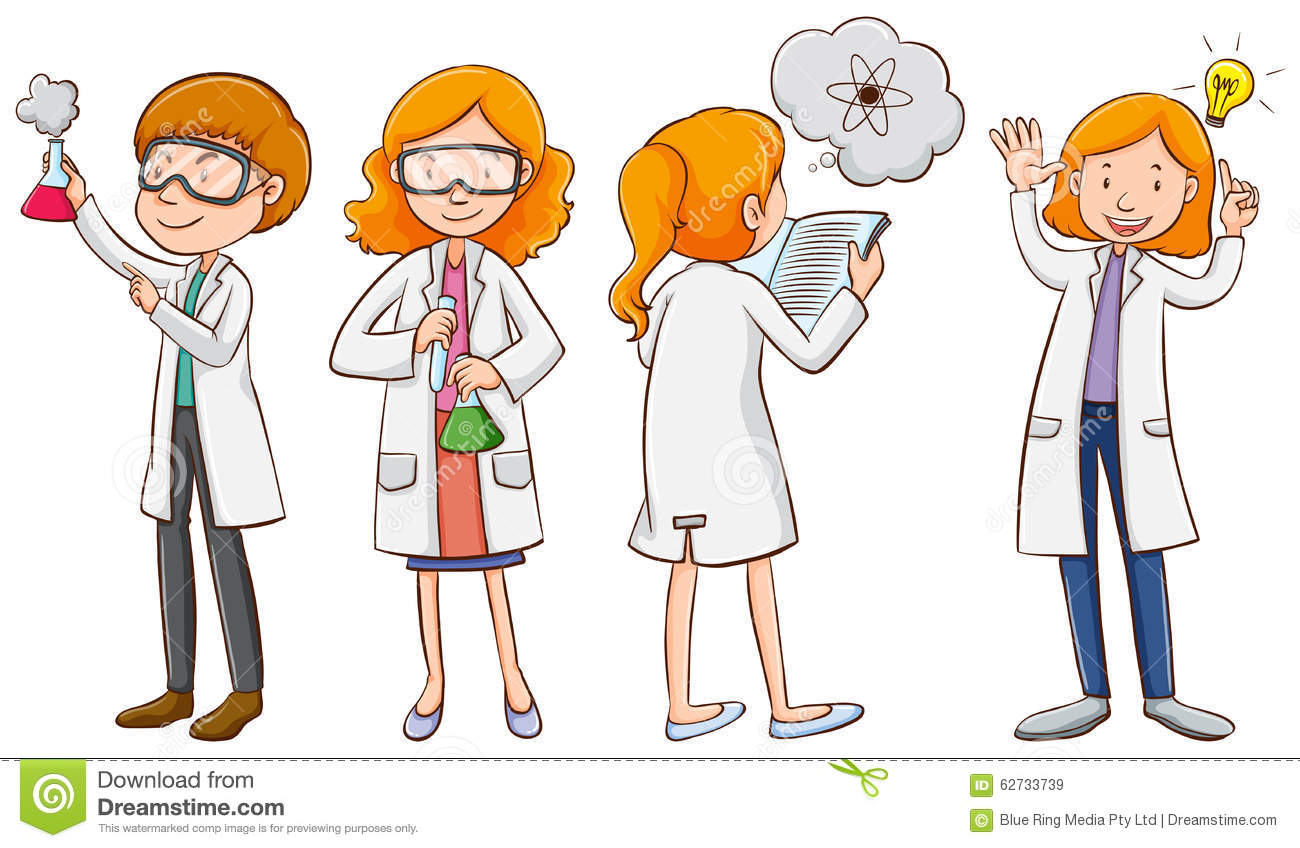 Male and female scientists stock vector. Illustration of ...