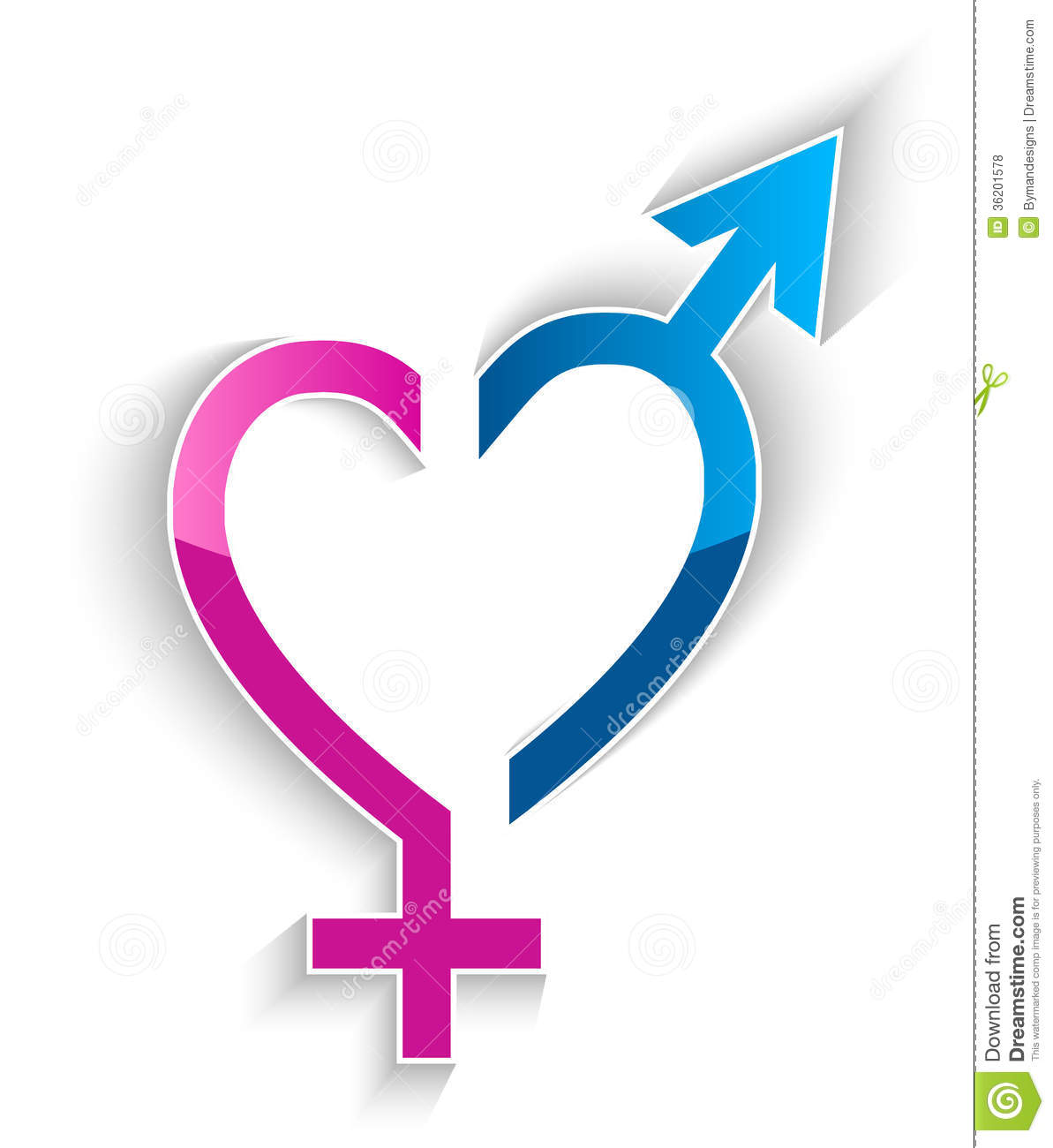 Male And Female Sex Symbol Heart Shape Concept Stock Vector