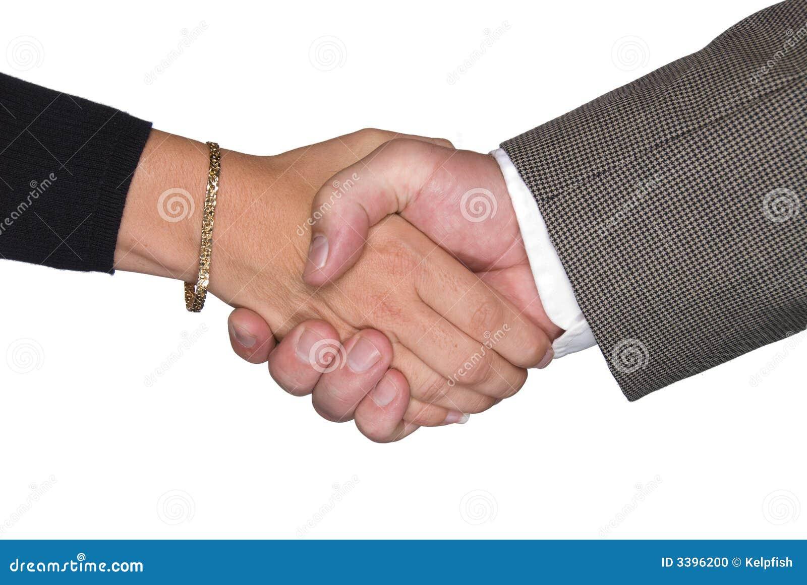 Male Female Shaking Hands Stock Vector Handshake Teamwork