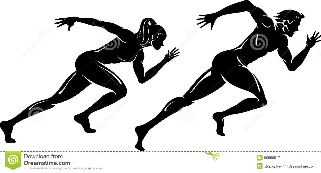 male and female speed runner silhouette stock vector clipart of runners black and white clip art of runners in a race