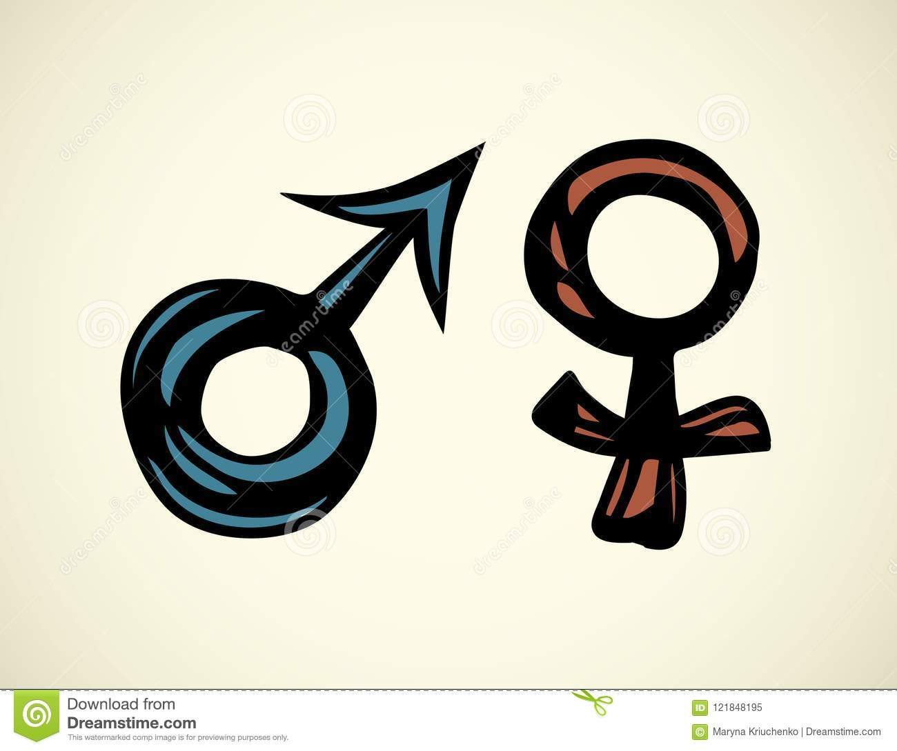 Male And Female Symbol Vector Drawing Stock Vector Illustration