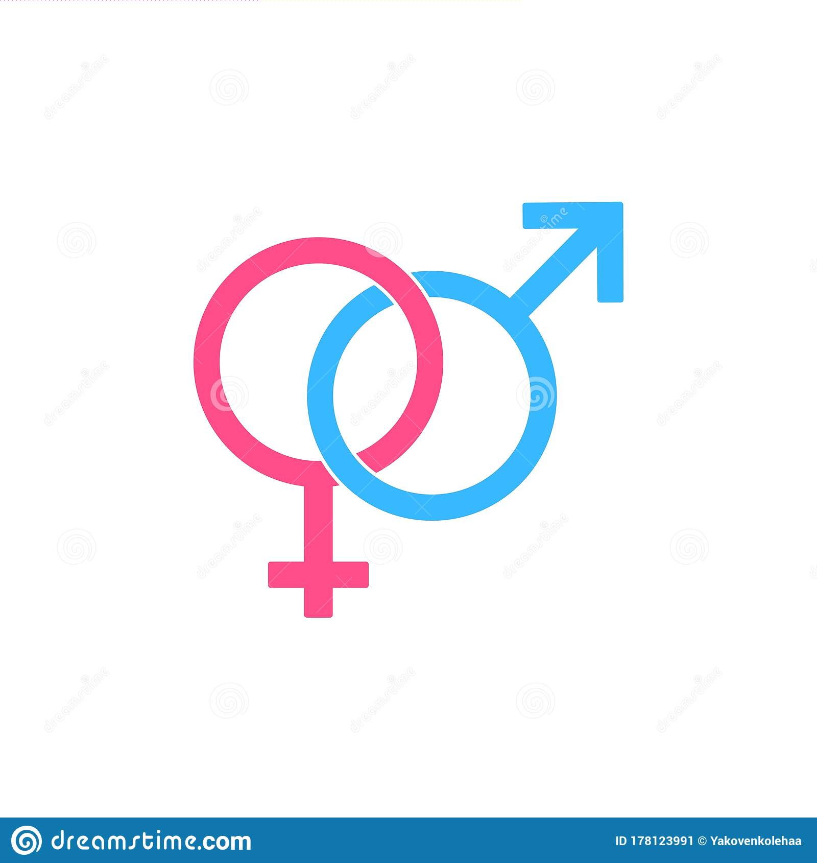 male and female symbols. gender, sex symbol or symbols of men and women  icon logo flat in blue and pink on isolated white stock vector -  illustration of relationship, sexual: 178123991  dreamstime.com