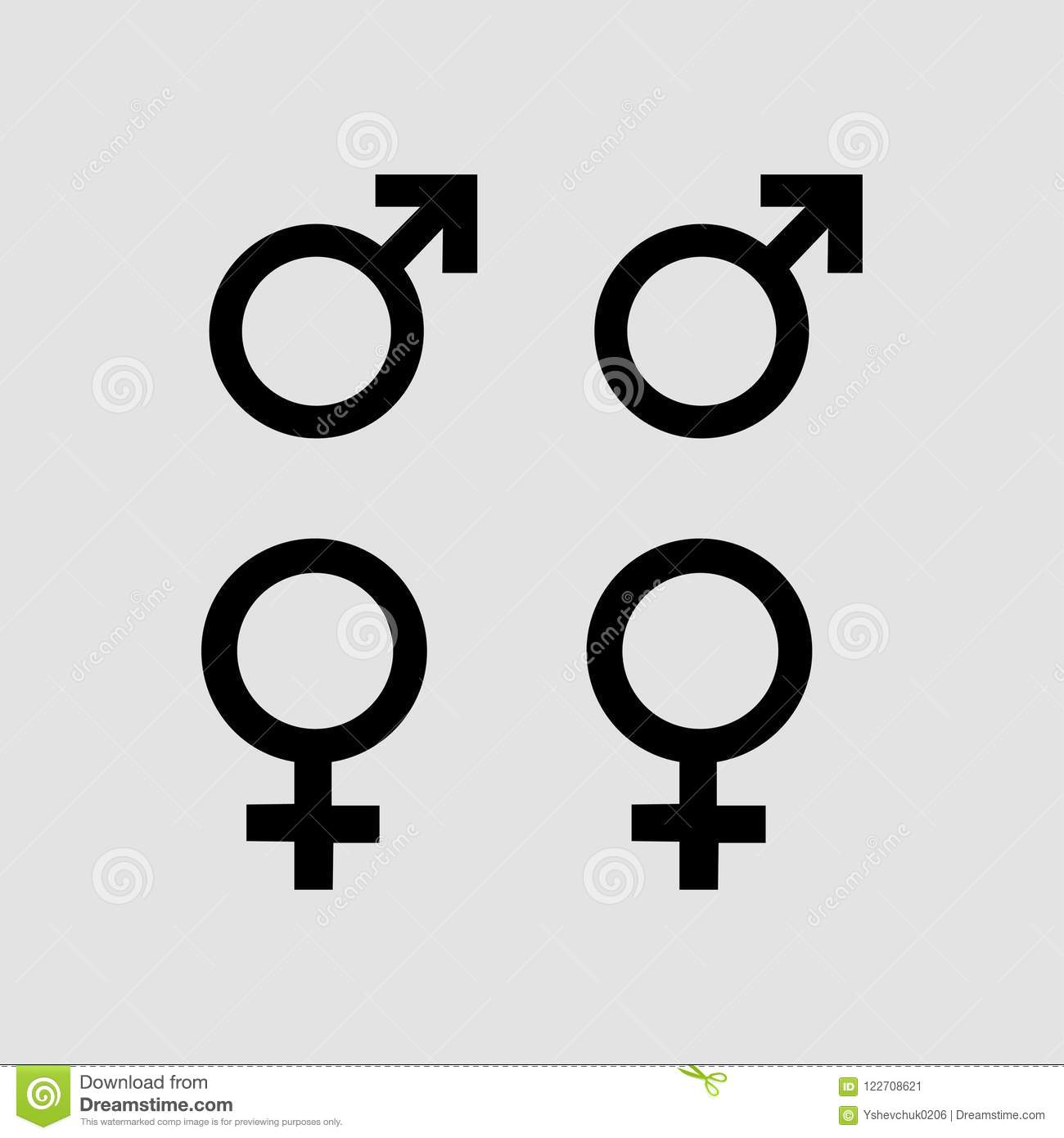 Male And Female Symbols Grey Background Vector Illustration Stock