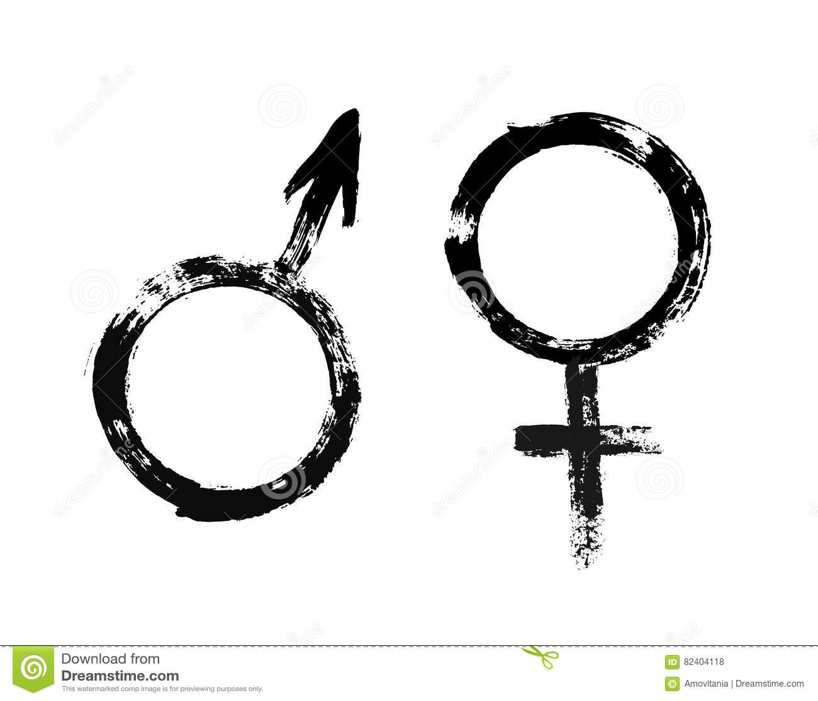 Male Female Symbols Grunge Painted Style