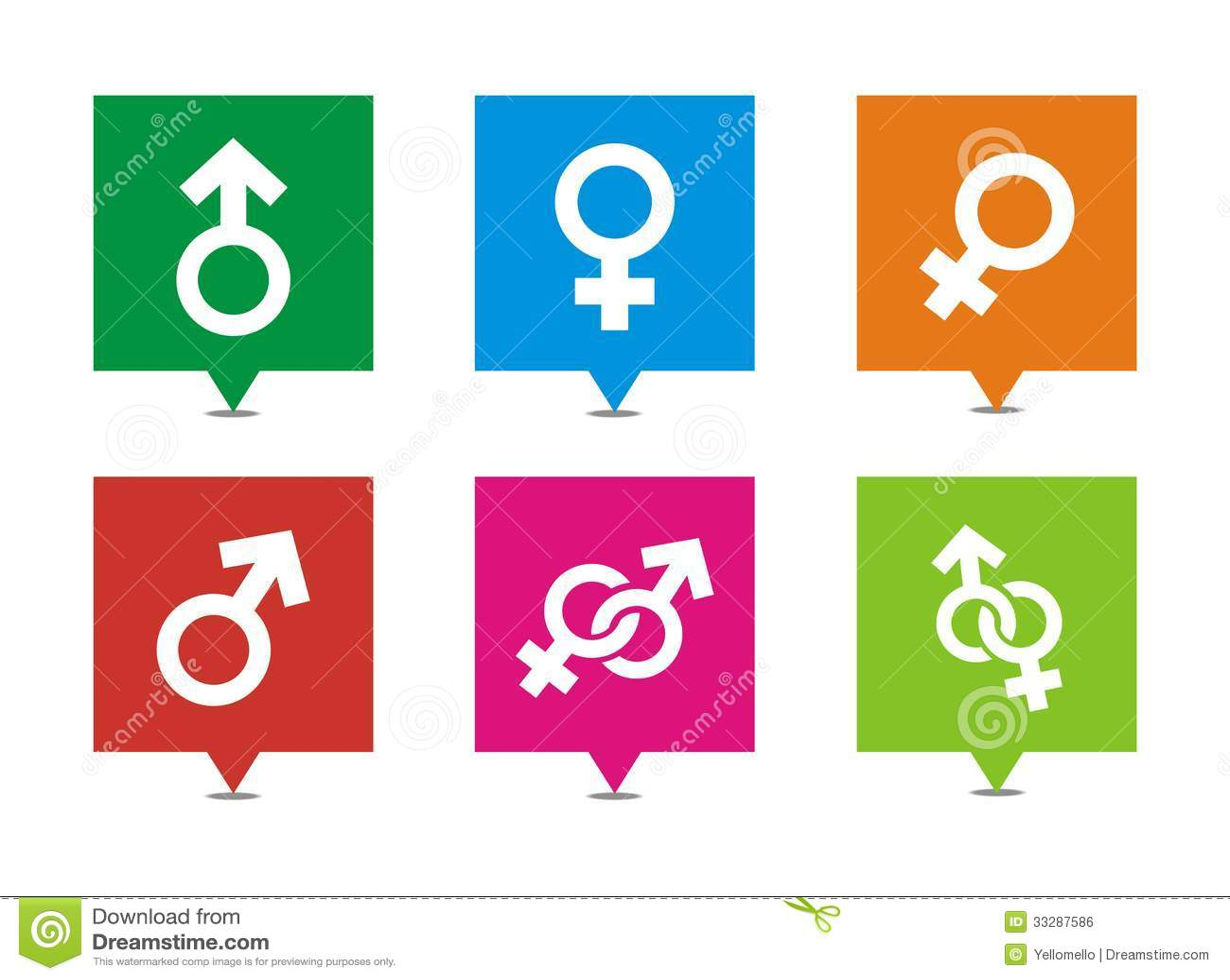 Male female symbols - square pointers