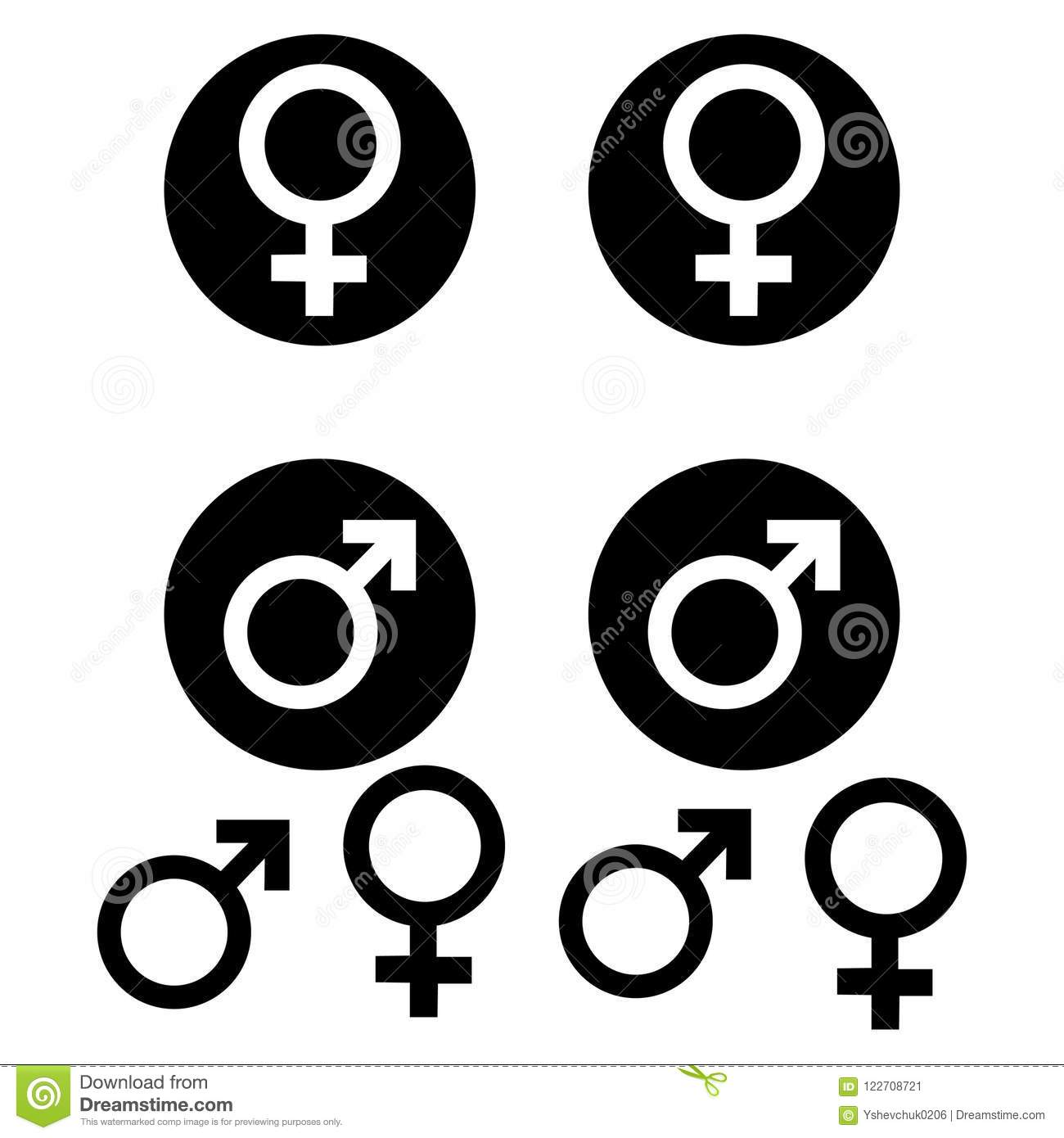 Male And Female Symbols White Background Vector Illustration