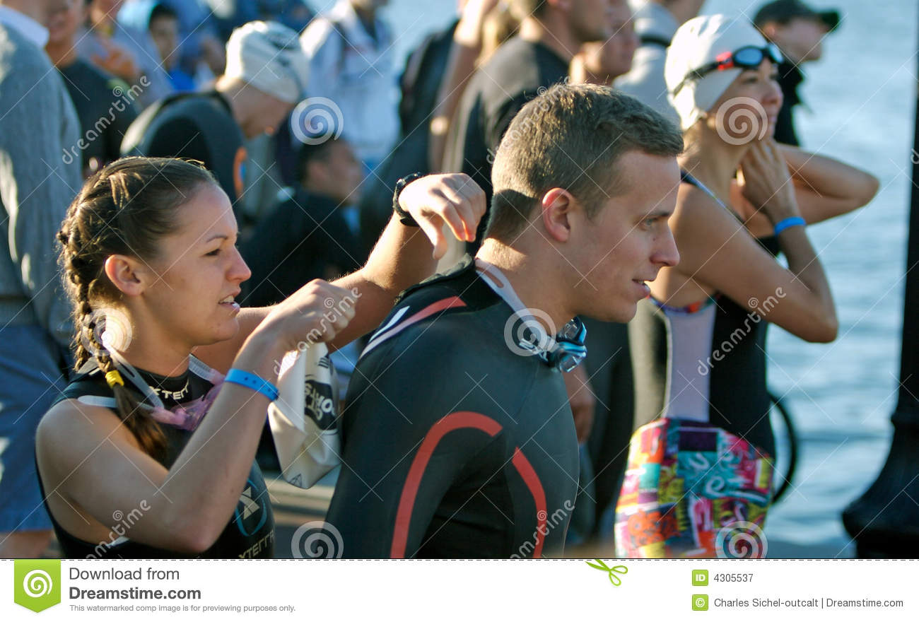 Male and female triathletes