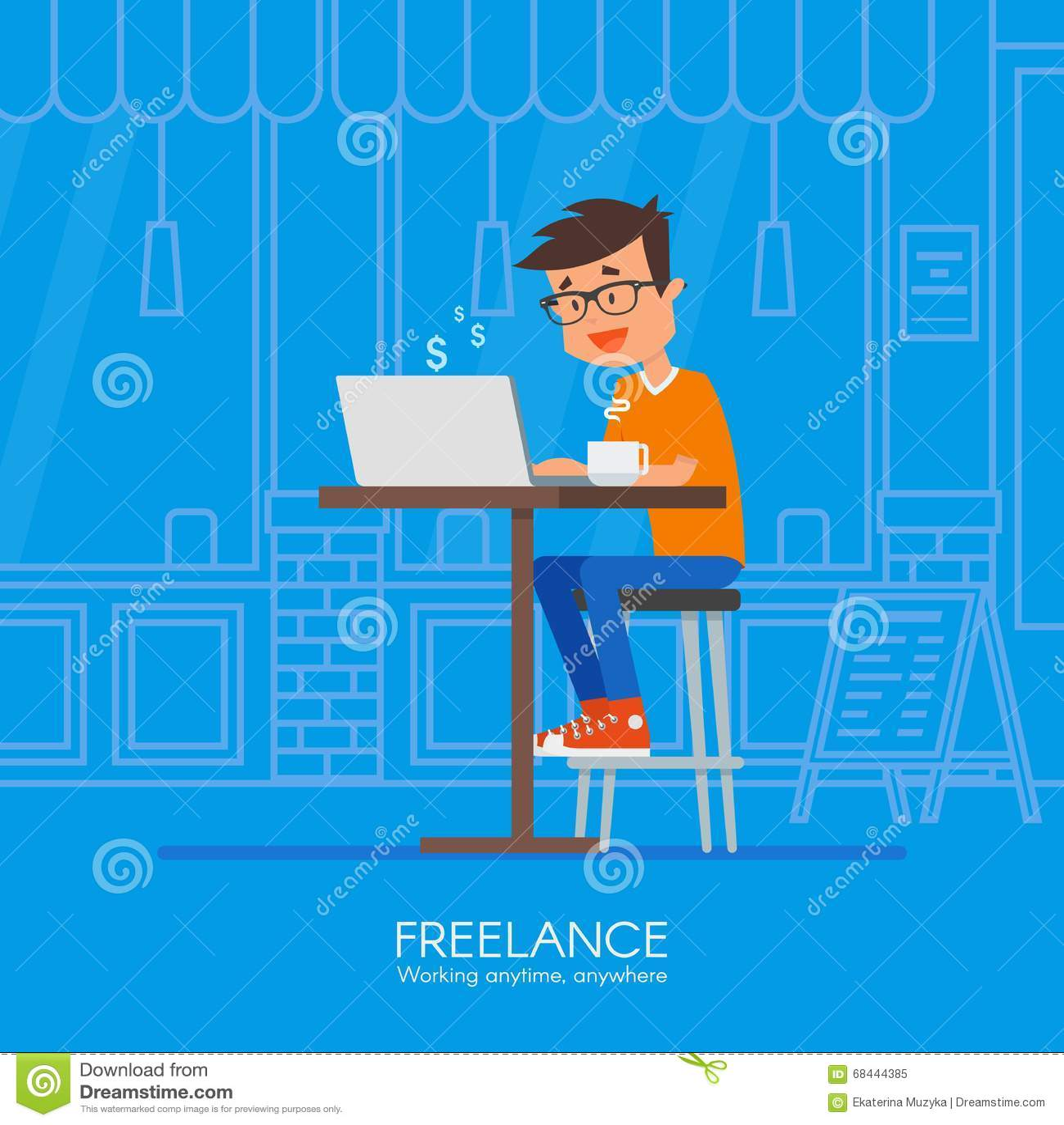 male freelancer working remotely from his desk vector illustration in flat style design home. Black Bedroom Furniture Sets. Home Design Ideas