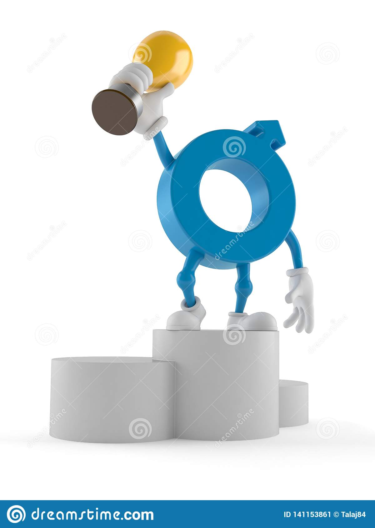 Male gender symbol character on podium holding trophy