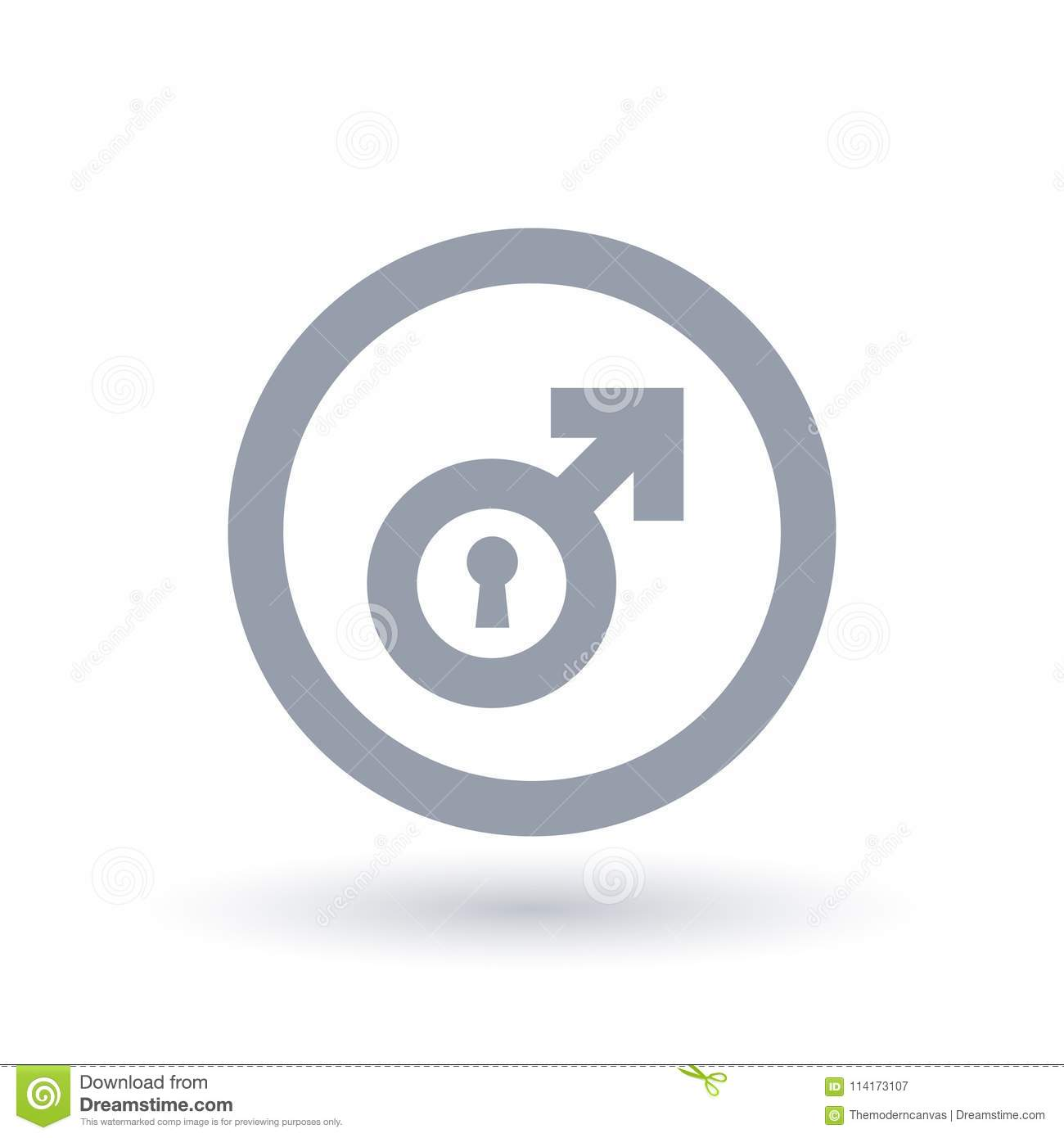Male Gender Symbol With Keyhole Biological Man Sign Stock Vector