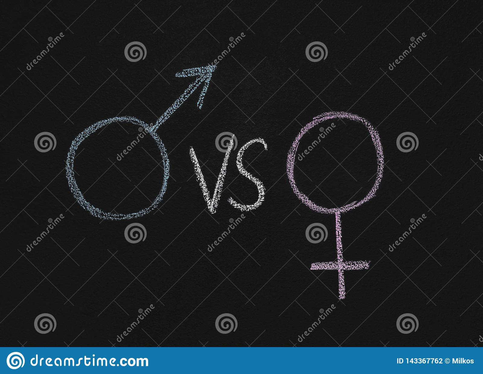 Male gender symbol vs female on chalkboard