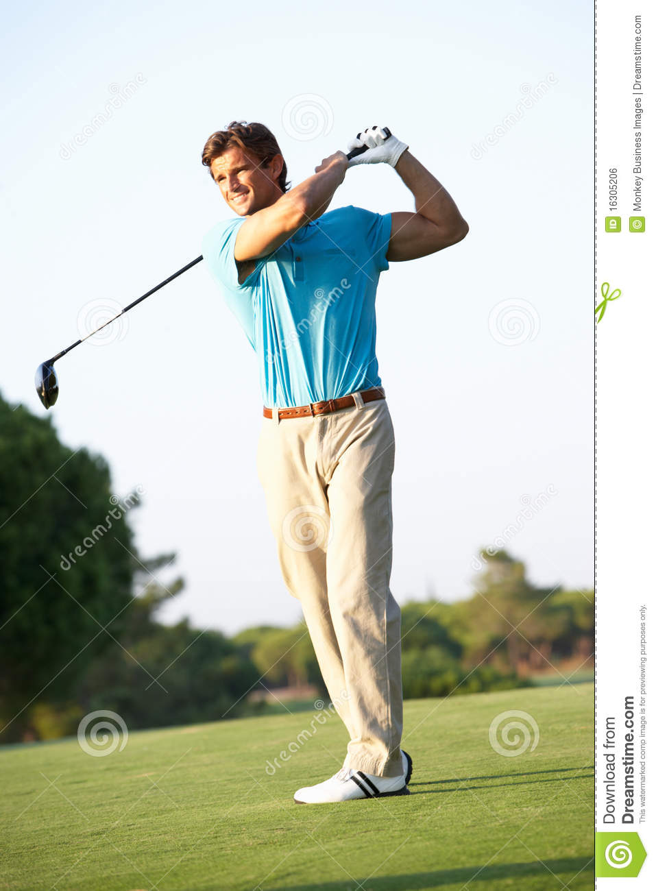 Male Golfer Teeing Off On Golf Course Royalty Free Stock Image - Image ...