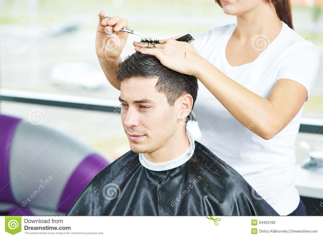 Male hairdresser at work stock image Image of ibarberi