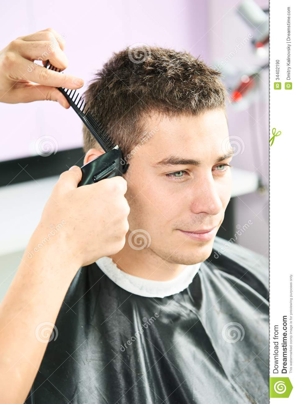 Male Hairdresser At Work Stock Photo Image Of Mirror