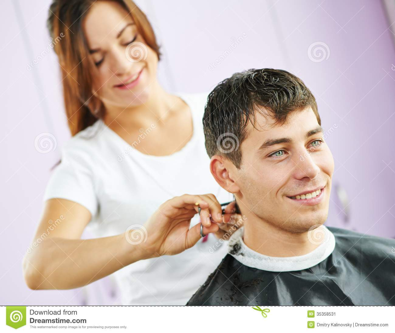 Male Hairdresser At Work Stock Image - Image: 35358531