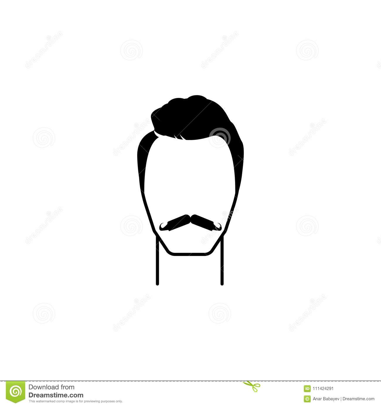 Male Hairstyle And Beard Icon.Element Hairstyles Icon ...