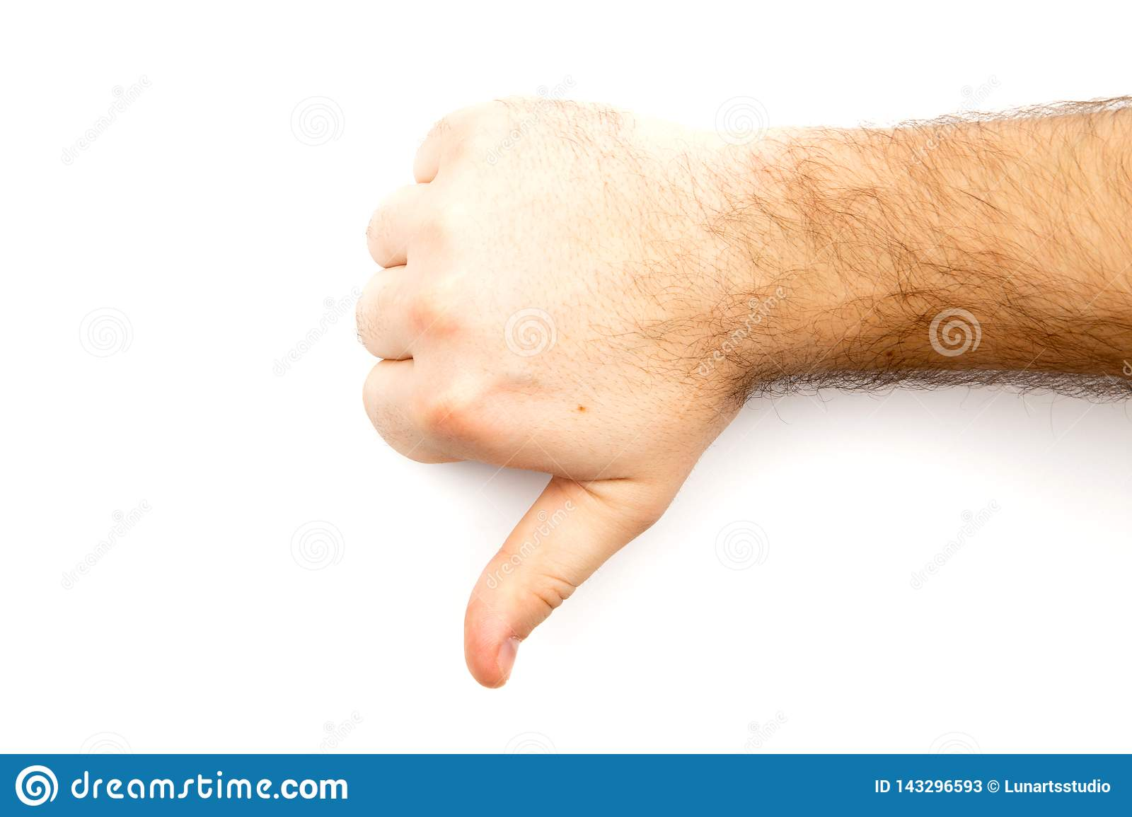 Male hairy hand showing Dislike, unlike, fail, disagree sign, thumb down hand with white background and copy space
