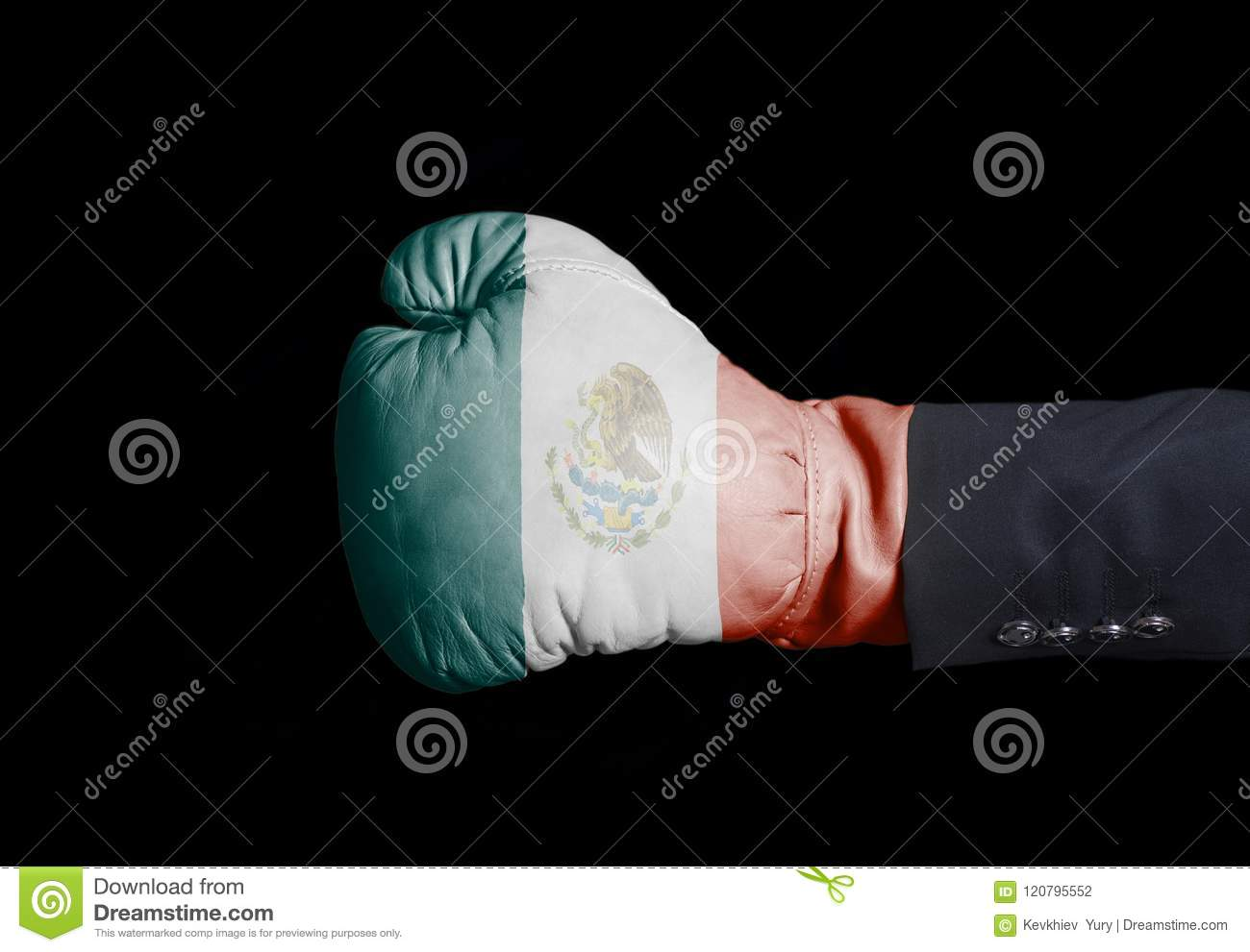 Male hand in Boxing glove with Mexico Flag