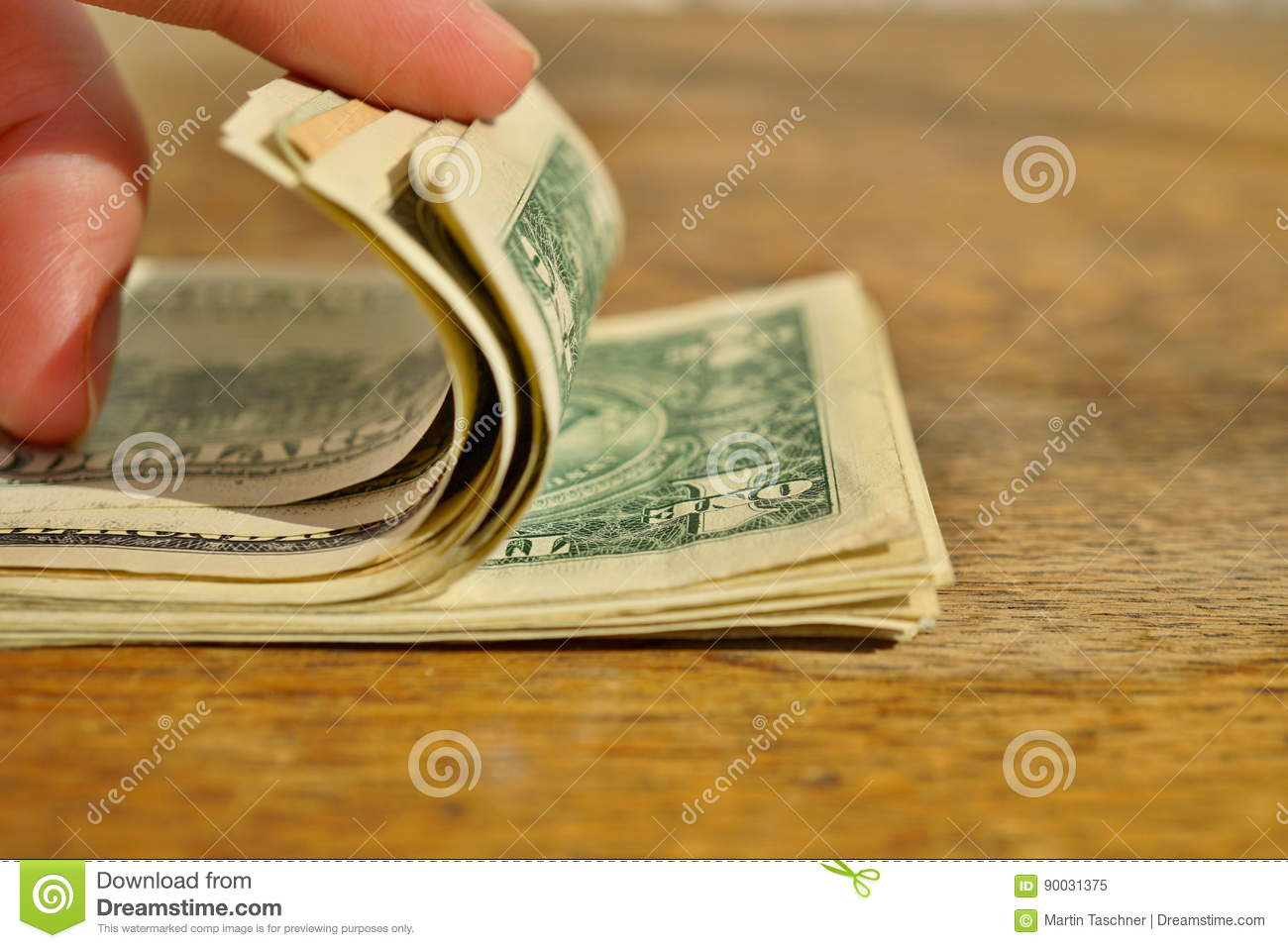 Male Hand Checking And Counting A Heap Of American Money Us Currency
