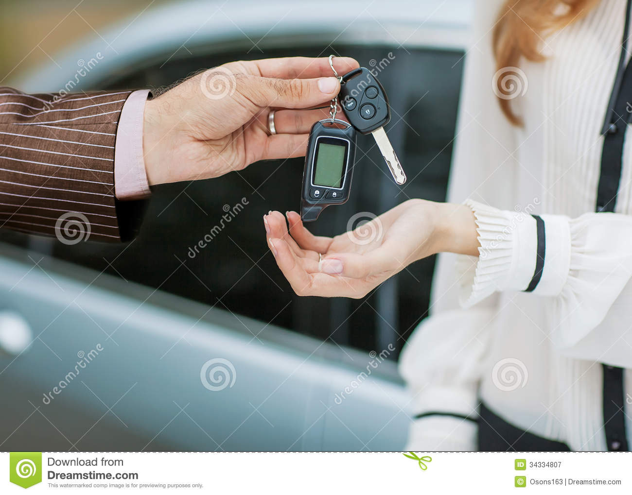 Expensive Car For Sale Or Gift Royalty Free Stock Image: Male Hand Giving Car Key To Female Hand. Royalty Free