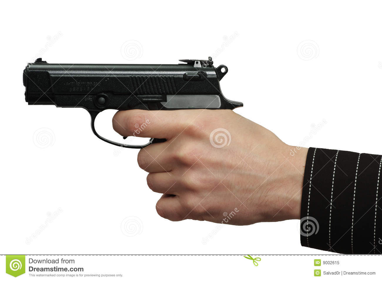 The male hand with a gun isolate