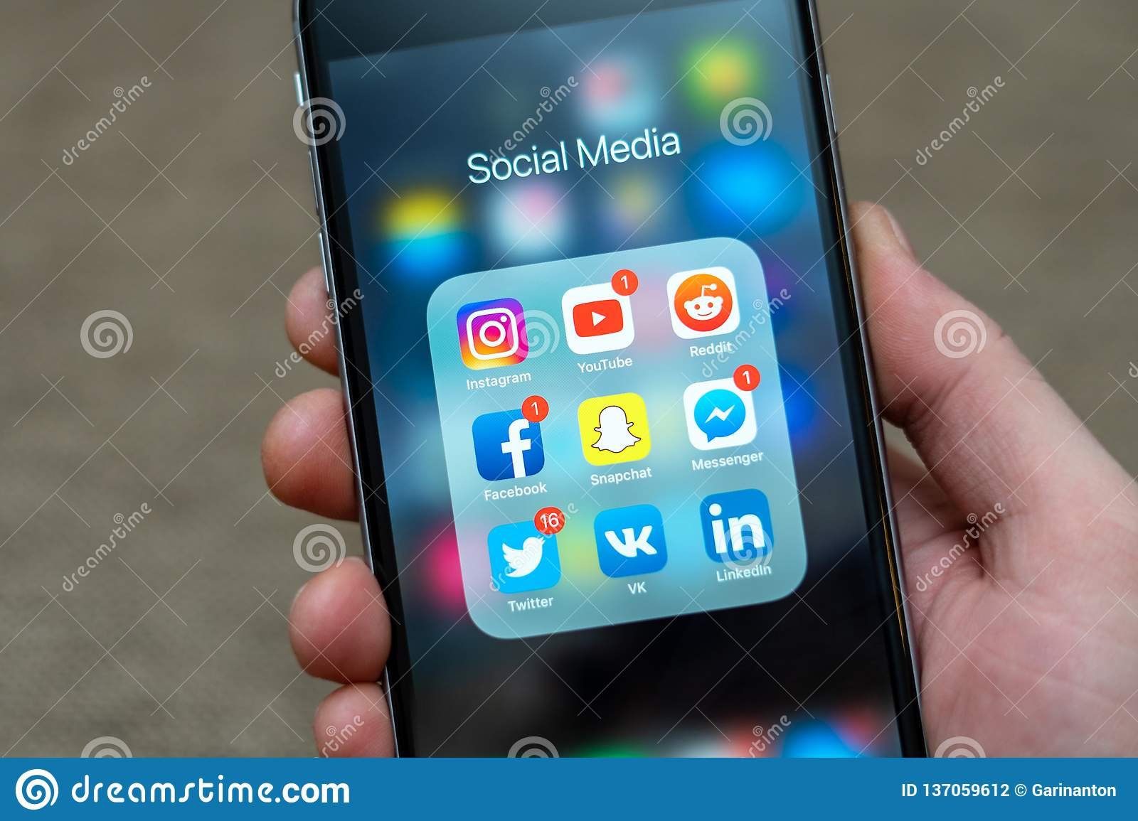 Social Media App Icons Displayed On Apple IPhone, Some Icons With