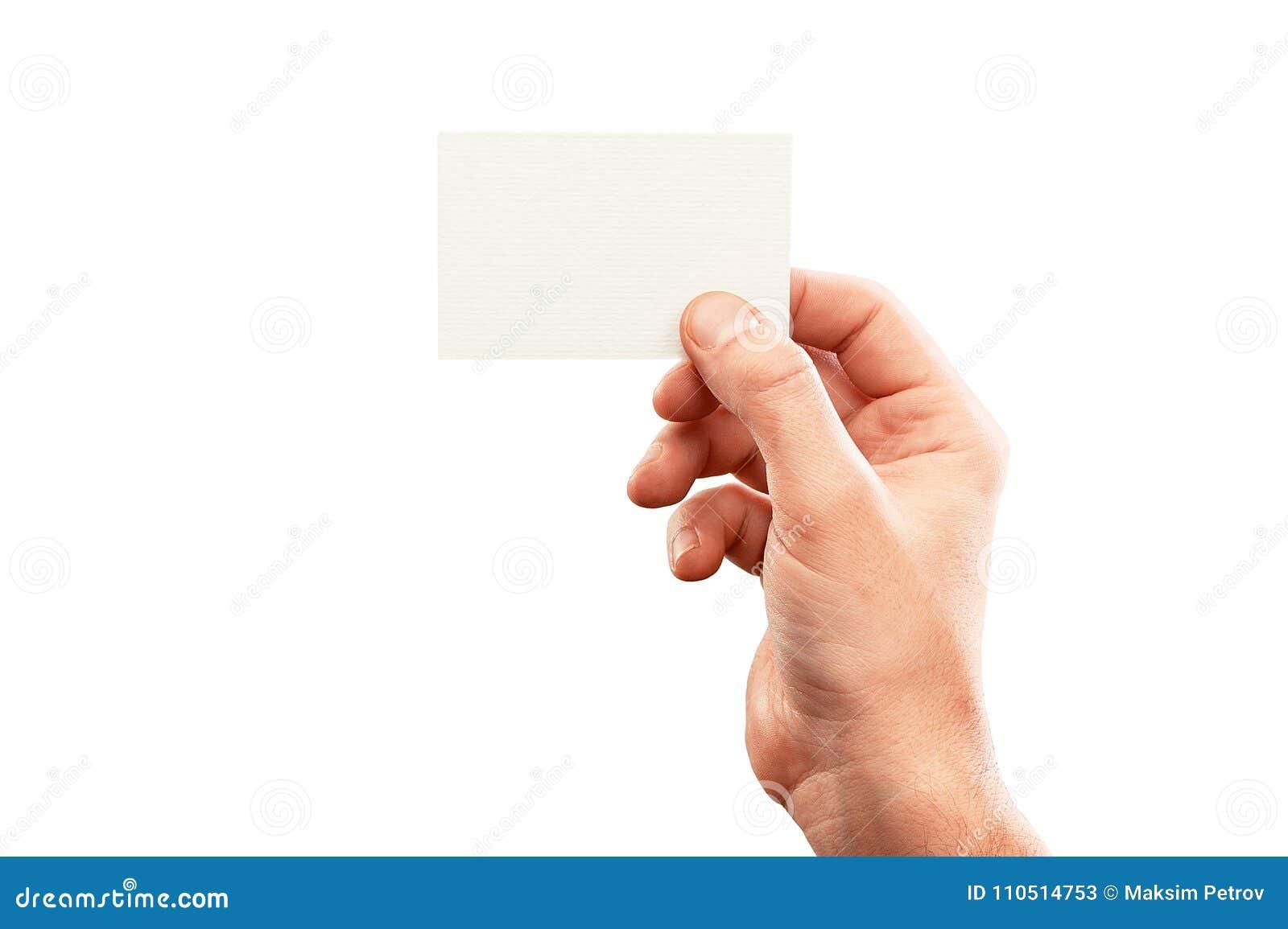 Male Hand Holding Business Card, Mockup On White Stock Image - Image ...