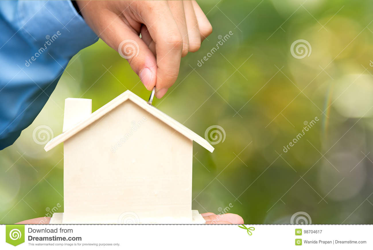Download Male Hand Holding Coins And Piggy House Bank Save Money, Green Nature Background.  Investment And Save Concept. Stock Image - Image of accounting, coin: 98704617