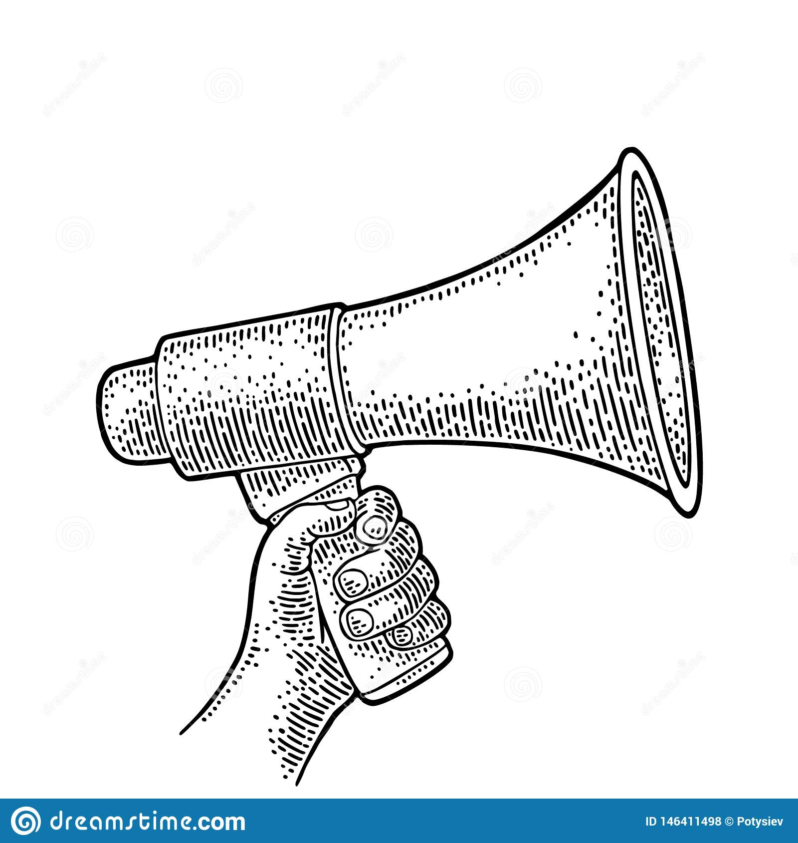 male hand holding loudspeaker stock vector illustration of concept media 146411498 dreamstime com