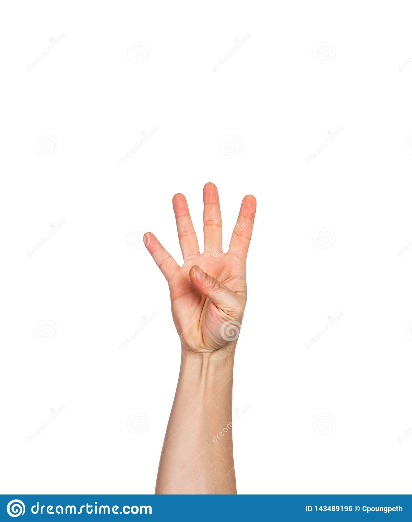 Male hand holding up four fingers, white background