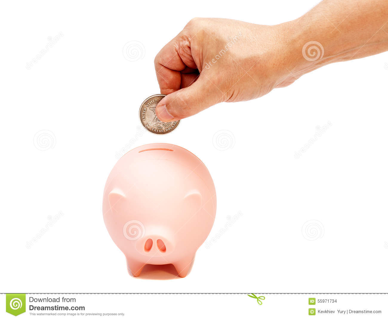 hand of male putting coin into pink piggy bank royalty