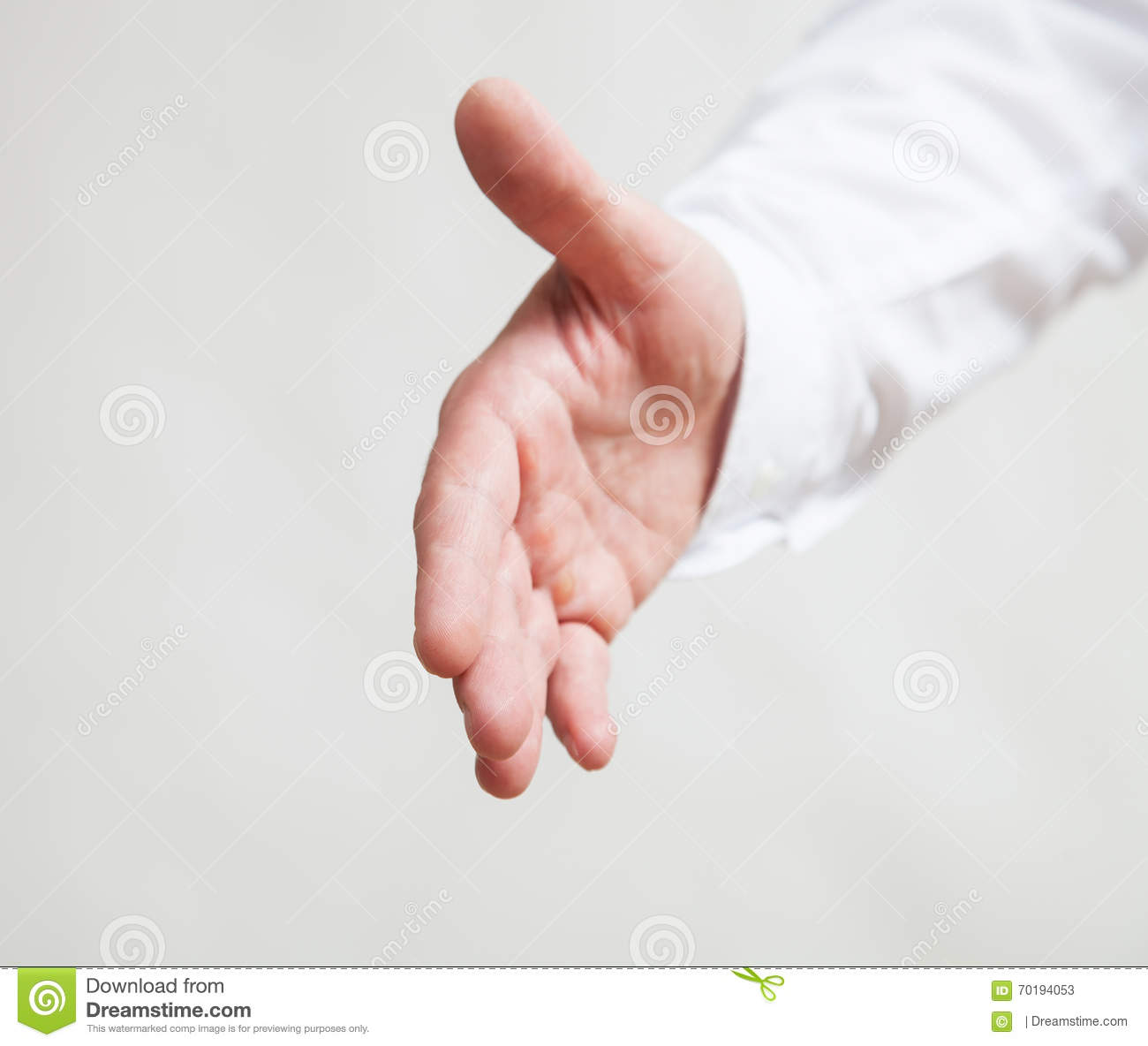 Male hand showing a gesture of a support