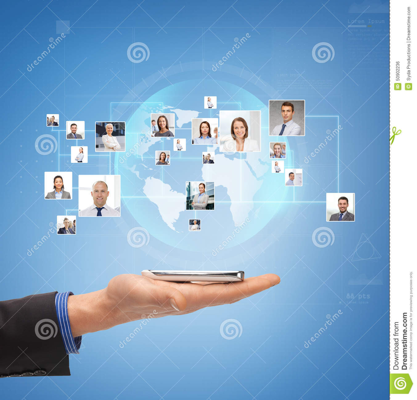 Business Contact: Male Hand With Smartphone Over Icons Of Contacts Stock