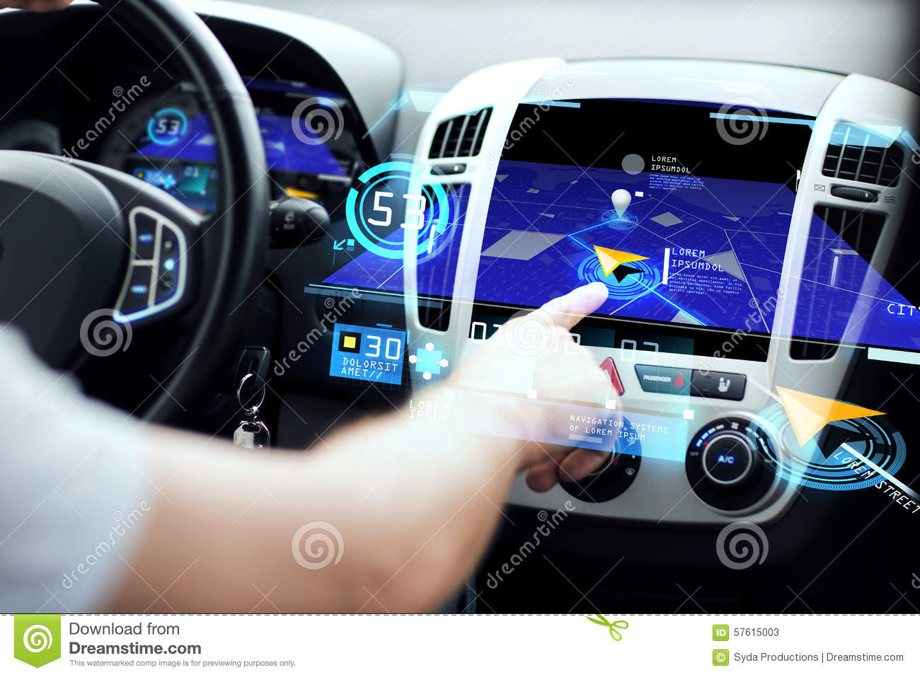 Male Hand Using Navigation System On Car Dashboard Stock Illustration Image 57615003