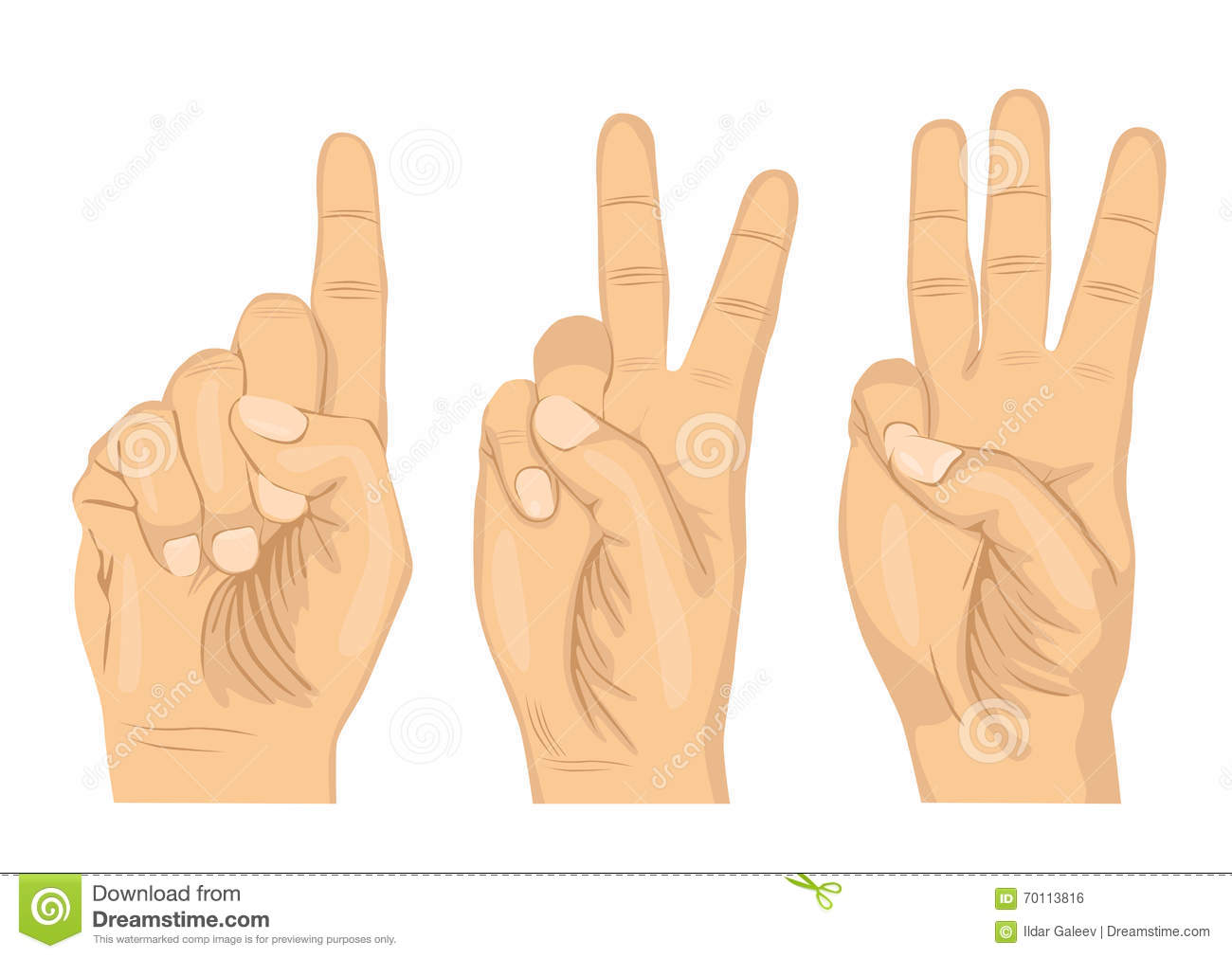 Male hands counting numbers one two and three with fingers