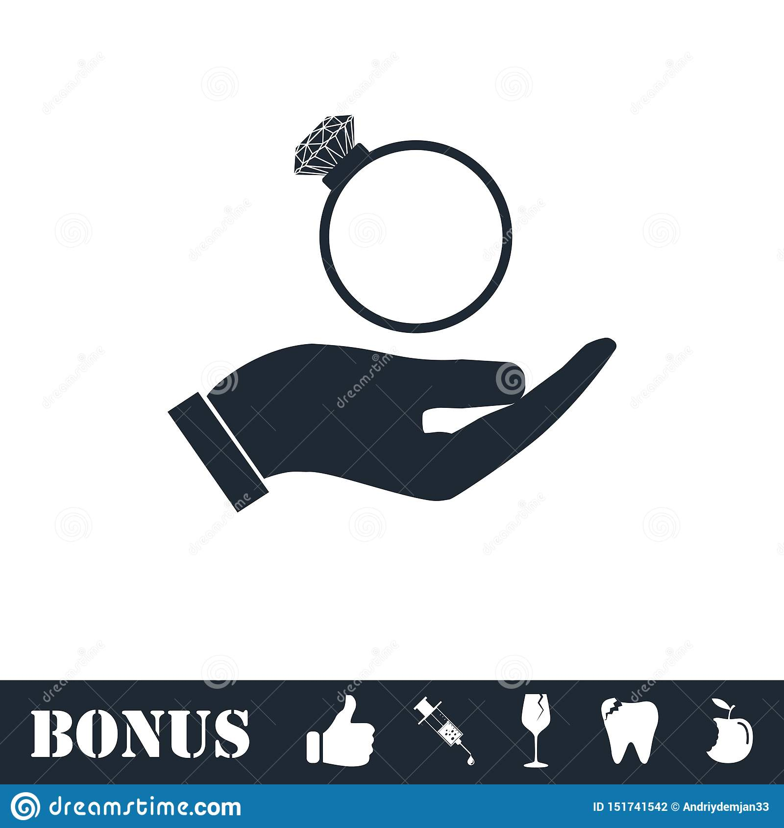 Male hands holding engagement ring icon flat
