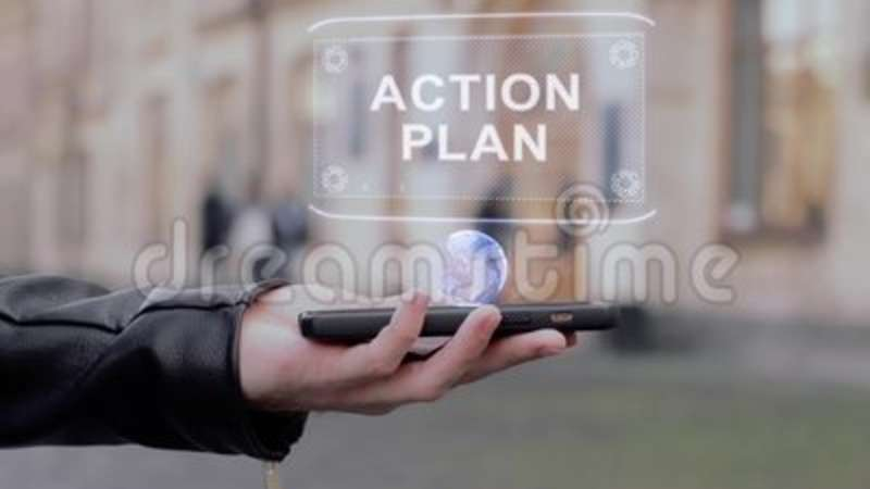 Male hands show on smartphone conceptual HUD hologram Action plan. Man with the future technology mobile holographic screen on blurred background of the stock video